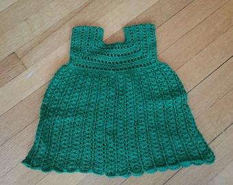 Handmade crochet green baby dress