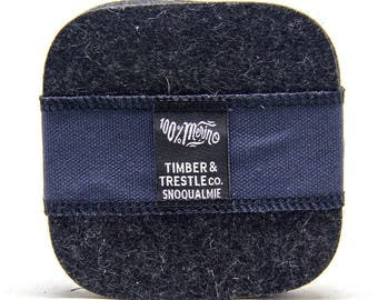 Squircle Merino Wool Felt Coaster Set– Charcoal Gray – 5MM Thick