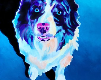 Australian Shepherd, Pet Portrait, DawgArt, Dog Art, Pet Portrait Artist, Colorful Pet Portrait, Aussie Art, Aussie, Art Prints