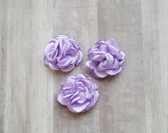 "2"" Purple Satin Flower, Burned Edge flower, fabric flower, Singed Satin flower, DIY supplies, lavender flower, satin Flower, Hair flower"