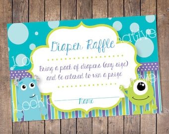 Diaper Raffle Tickets - Monsters Inc. Baby Shower  (INSTANT DOWNLOAD)