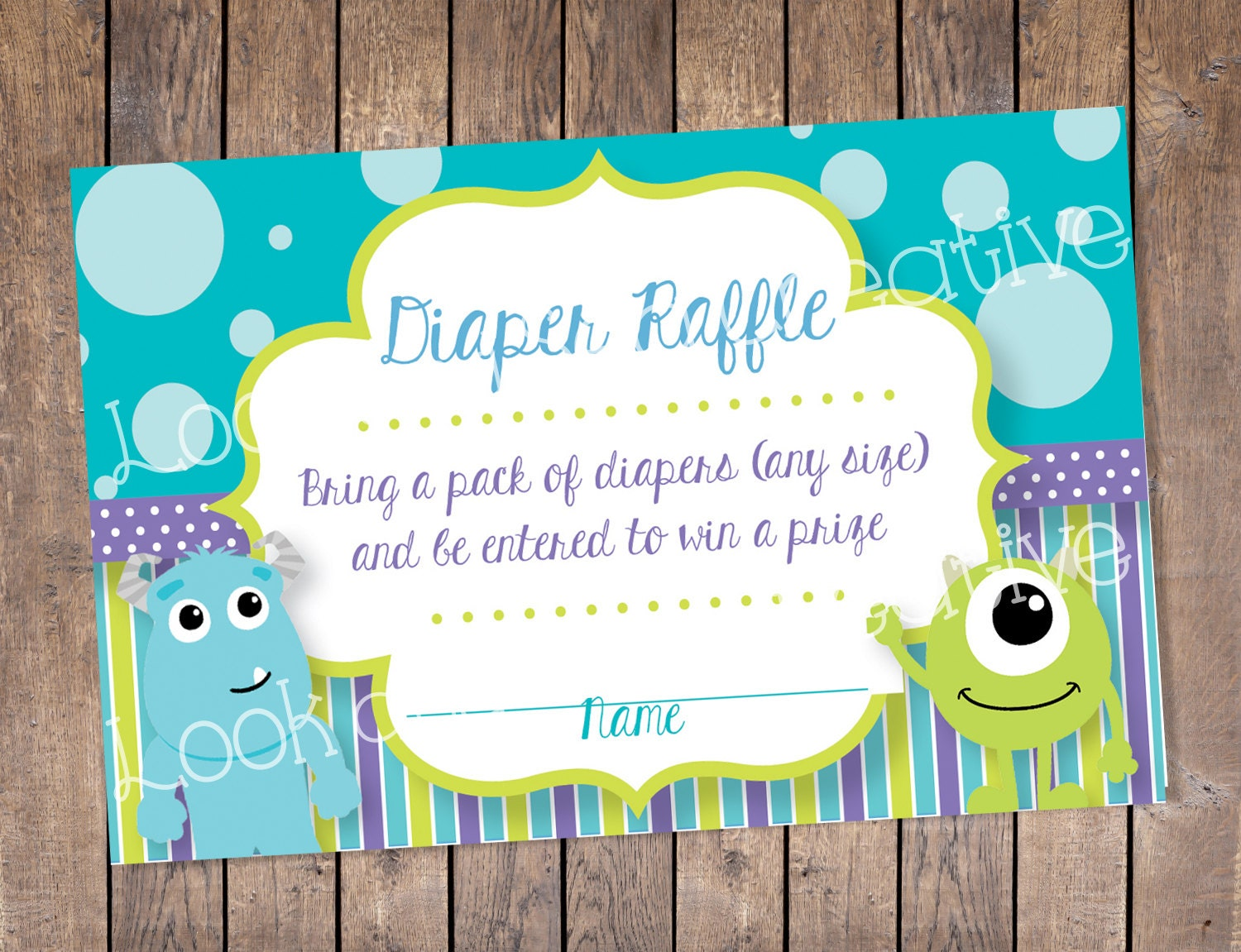 Diaper Raffle Tickets Monsters Inc Baby Shower INSTANT