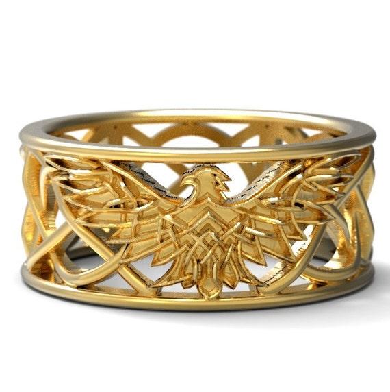 Celtic Eagle Ring, Eagle Wedding Band, Mens Wedding Band, Eagle Jewelry, 10K 14K 18K Gold, Palladium or Platinum, Custom Size 1138