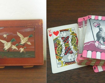 Arrco Double Deck Playing Cards In Leather Case