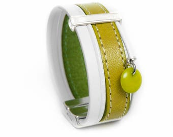 Pistachio green with White Leather cuff