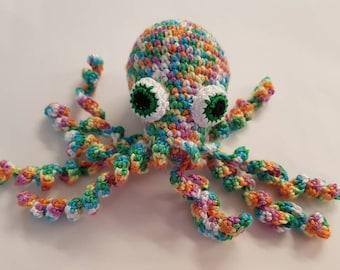 Rainbow octopus baby rattle crochet baby shower gift