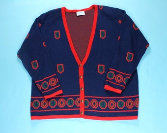 Vintage PENDLETON Wool Cardigan Sweater 2XL Button Navy Blue Red Green Gucci Colors Winter Retro Mod