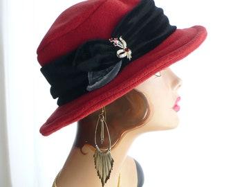 Paprika Red Brim Hat/Fedora with Velvet Band