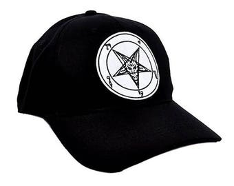 White & Black Baphomet Goat Head Inverted Pentagram Hat Baseball Cap Alternative Metal Clothing - EPT-WhtBaphomet-Cap