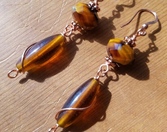 Brown and copper earrings.