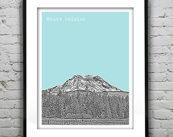 Mount Rainier Washington Art Print Poster WA Mt Rainier
