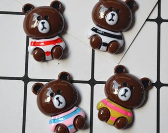 12pcs Mixed colors DIY Bear flatback Kawaii Phone Case Deco Decoden Resin cabochon