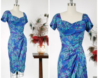 Vintage 1950s Dress - Rare 50s Draped Silk Killer Dorothy O'Hara Curve Hugging Bombshell Dress in Stunning Print of Blue, Purple and Aqua