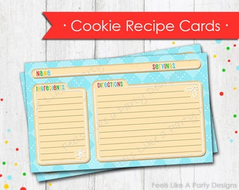 Christmas Cookie Themed Recipe Cards