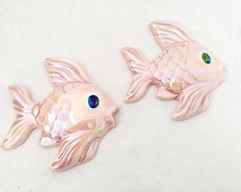 Vintage Fish Wall Hangings Pink Opalescent Pair of Bathroom Decorations 60s Pastel Bedroom Iridescent