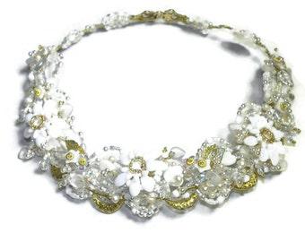 Shasta Daisy Jeweled Wirework Collar Necklace, Bridal Jewelry, Woodland Wedding WJ124