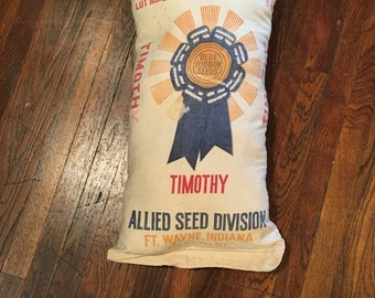 Seed Sack Pillow  - upcycled