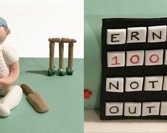 Cricket Batsman & Scoreboard Edible Cake Topper