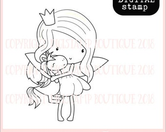 Fairy and unicorn digital stamp - digi