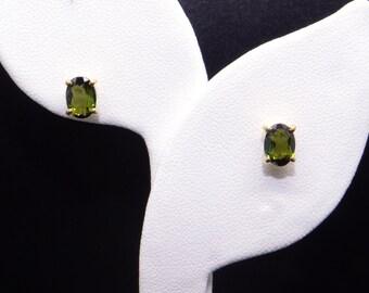 Fantastic 18k Yellow Gold 1.20ct Oval Cut Green Tourmaline Stud Earrings