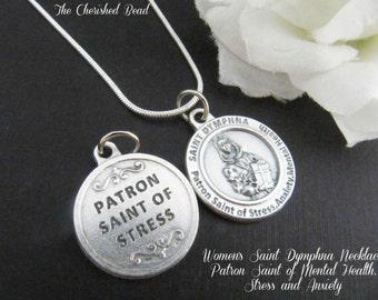 Women's Saint Dymphna Necklace - Patron Saint of Mental Health, Stress and Anxiety - Catholic Healing Saint