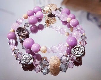 Gray double clear round Phosoposiderite and Amethyst gems with pink pearl bracelet, Swarovski Crystal and Pearl Gold