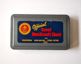 "Vintage ""Boy Scouts of America"" Handicraft Chest tin box"