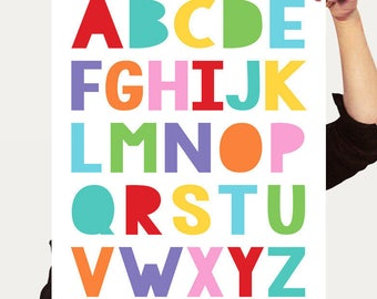 alphabet print ABCs poster colourful nursery art, children's room decor, kids art baby girl or boy gender neutral wall art - rainbow bright