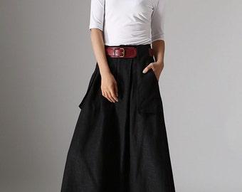 long black skirt, A line skirt, pockets skirts, linen skirt, womens skirts, full length skirt, fall skirt, plus size skirt, custom made 979