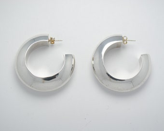 Large hoop earrings - Sterling silver earrings - Vintage earrings