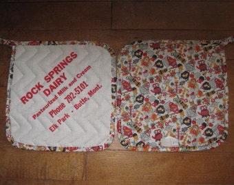 Rock Springs Dairy Elk Park Butte Montana Advertising Hot Pad Potholder - One Only