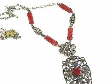 SALE Clearnce SALE Elegant French Art Nouveau Art Deco Open Back Carnelian Art Glass Vintage Filigree Necklace Art Nouveau Jewelry