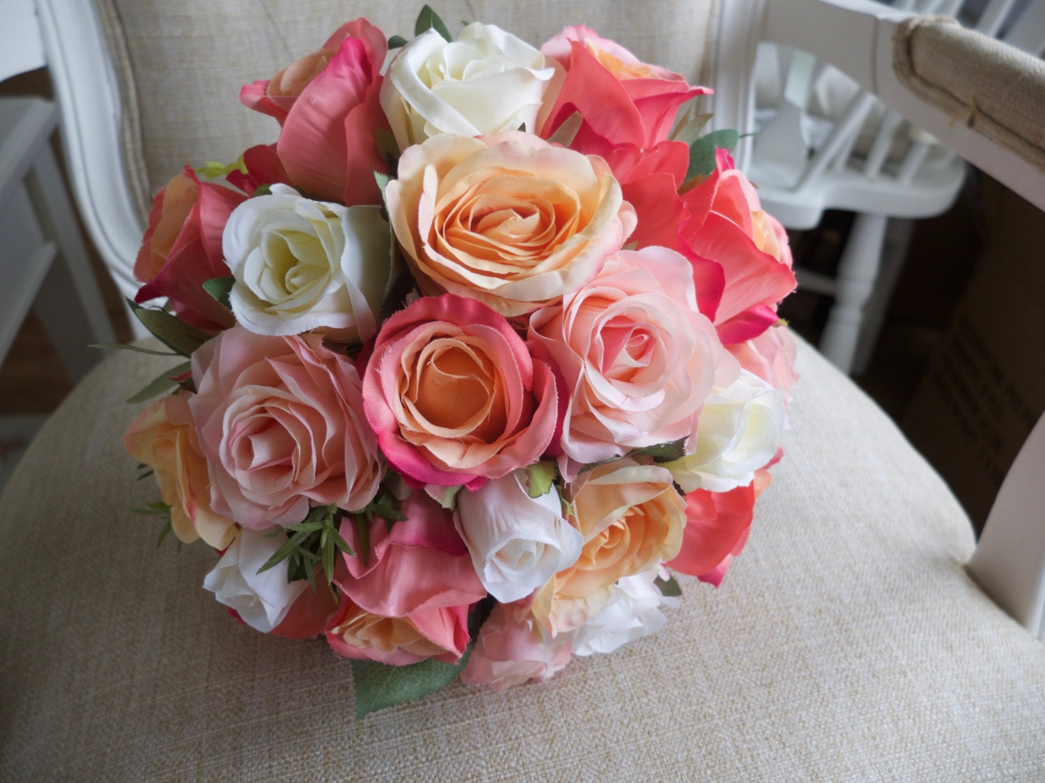 Coral Peach Blush Pink And Ivory Silk Wedding Bouquet Made