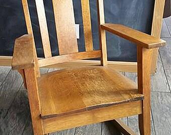 Vintage Solid Oak Craftsman Style Rocking Chair
