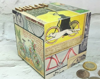Vintage Bicycle themed Money Box, Cycling Art, Piggy Bank, Cycling Gifts, Bicycle Gifts, Bicycle Art, Cyclists Money Box
