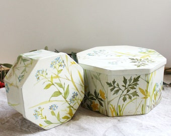 Summer Flowers. Pair of vintage ira Denmark tin canisters.