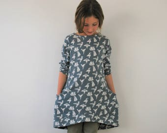 Girls grey jersey dress bird print pocket smock cotton girl floppy origami birds jumper slouchie dress pockets lounge birdie stretch
