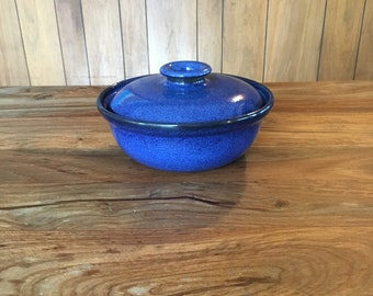 Vintage Heath Ceramics Small Covered Serving Dish in Moonstone Blue