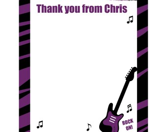 20 Personalized Thank You Cards   - Purple Zebra Rock Star