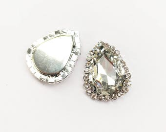 1 x Crystal Glass TEAR DROP Diamante Rhinestone Wedding Toppers Stick On Pearl