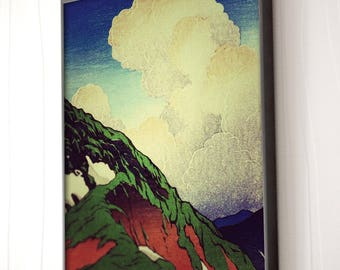 "Vintage Japanese Ukiyo-e Framed Art Print signed Landscape Poster by Kijiermono ""3 Days at Denka"" Wall Home Decor"