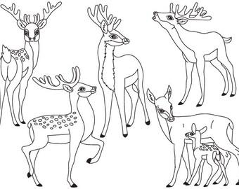 Deers Clipart - Digital Vector Deers, Animals, Baby Deer, Deers Clipart, Instant Downloa