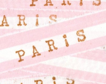 PARIS baby girl favor pink cotton candy shabby trim french chic hand stamped Muslin 1 inch . c796 . ....oohlala