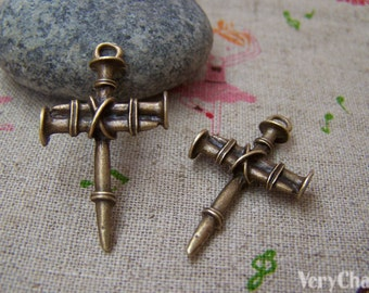 10 pcs of Antique Bronze Nail Cross Charms Pendants 19x35mm  A1419