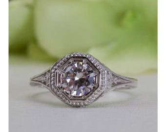 Art Deco Style 1.00 Ct. Fine Quality Cubic Zirconia Ring in Sterling Silver, Engagement Ring, Promise Ring, Anniversary Ring | #013