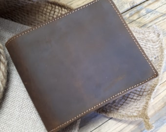 Personalized Leather Wallet, Cowhide Leather Wallet, Personalized wallet, Mens BiFold Wallet, Custom Wallet, Mens gift, Distressed Leather