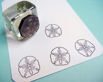 Tiny Sand Dollar Rubber Stamp - Handmade by BlossomStamps