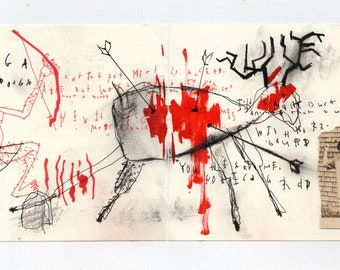 the Hunter - Original Mixed Media Drawing from Sketchbook