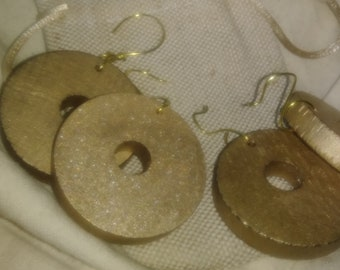 Metallic Gold Wood Earrings