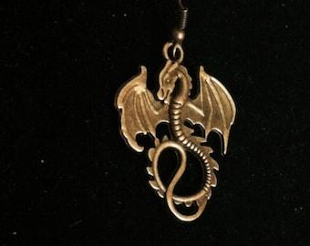Dragon Earring for Men, Men's Dragon Earring, Dragon Jewelry, Bronze Dragon Earring, Men's Jewelry, Earring for Men